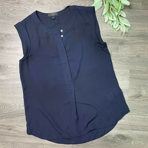 J. CREW | sz 2 navy sleeveless popover shirt